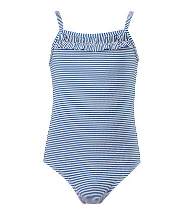 Gestreept meisjesbadpak blauw Perse / wit Marshmallow