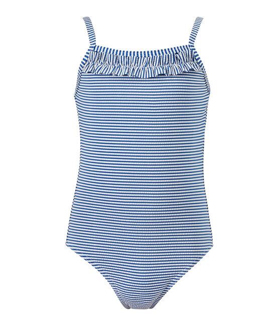 Maillot de bain fille 1 pièce rayé bleu Perse / blanc Marshmallow