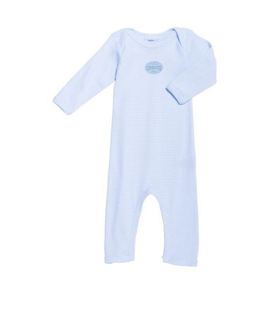 Lange babybody met milleraies-strepen voor jongens blauw Fraicheur / wit Ecume