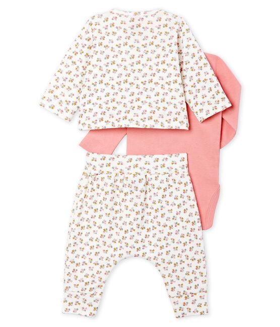 Set van drie kledingstukken van gebreide stof babymeisje wit Marshmallow / wit Multico