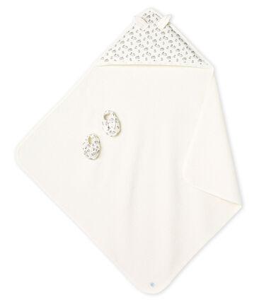 Coffret carré de bain et chaussons bébé en BE et côte MARSHMALLOW/SCULPTURE/MULTICO