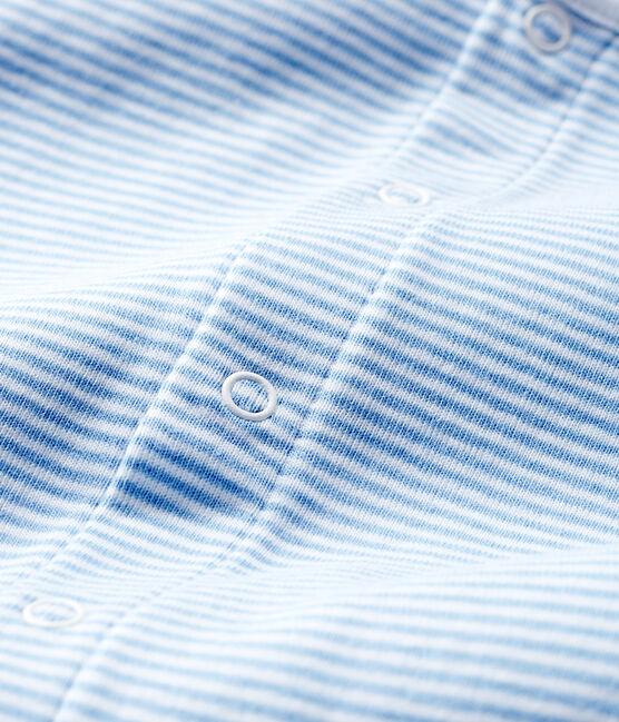 Bodyjama zonder voetjes babymeisje van gebreide stof blauw Acier / wit Marshmallow
