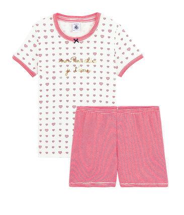 Korte meisjespyjama van gebreide stof wit Marshmallow / wit Multico