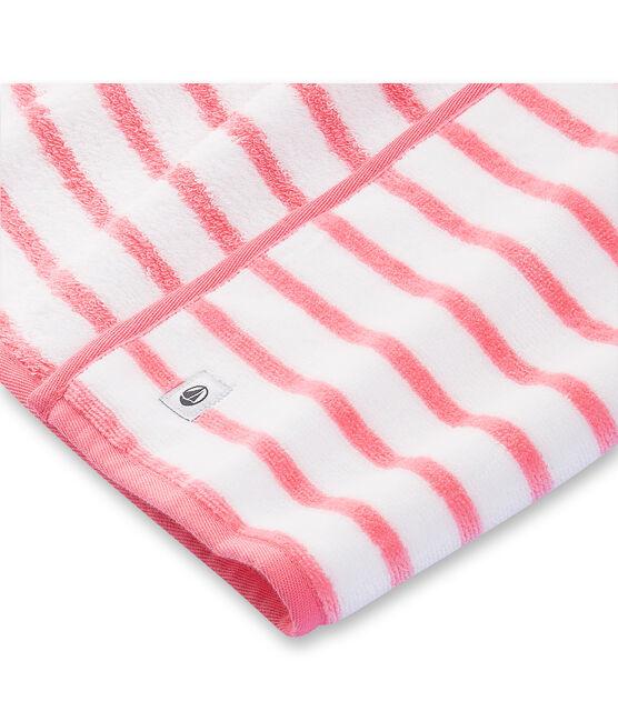 Uniseks badcape in badstof wit Lait / roze Merveille