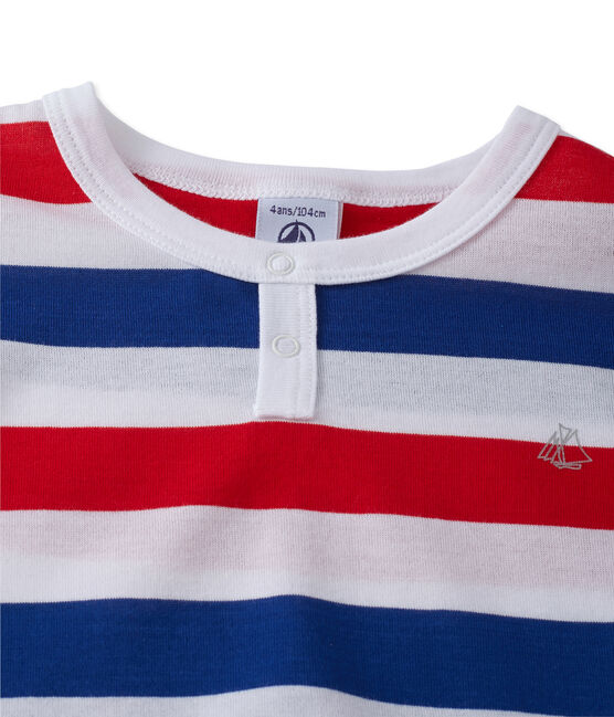 Pyjacourt garçon en jersey rayé blanc Ecume / bleu Source