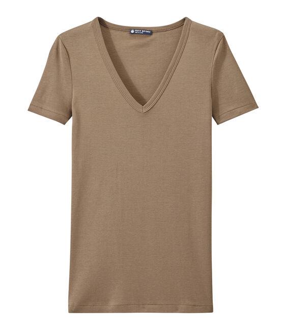 T-shirt femme col V en côte originale marron Shitake