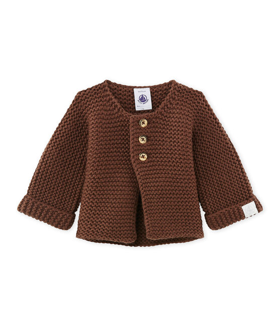 Uniseks babycardigan in wol/katoen bruin Brown