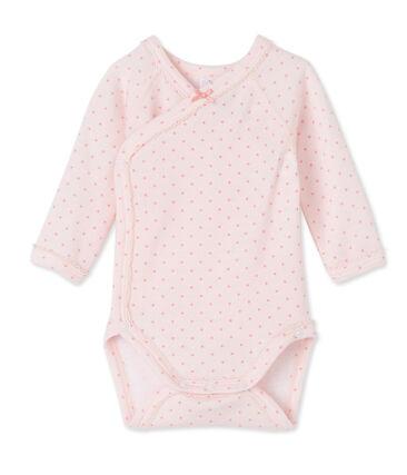 Eerste body met lange mouwen in wol/katoen voor babymeisjes roze Vienne / roze Gretel