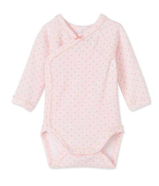 Body naissance bébé fille manches longues laine et coton rose Vienne / rose Gretel