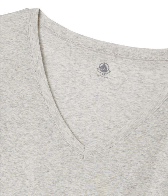 T-shirt femme col V en coton léger grijs Beluga Chine