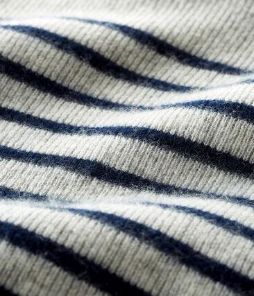Trui van kasjmier babyjongen grijs Beluga / blauw Smoking