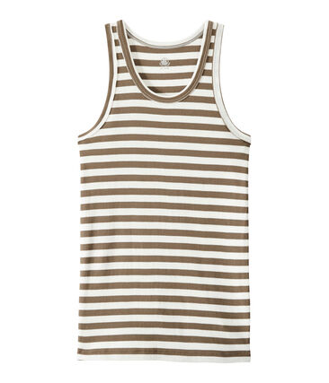 Gestreept dameshemdje in origineel geribd katoen bruin Shitake / wit Marshmallow
