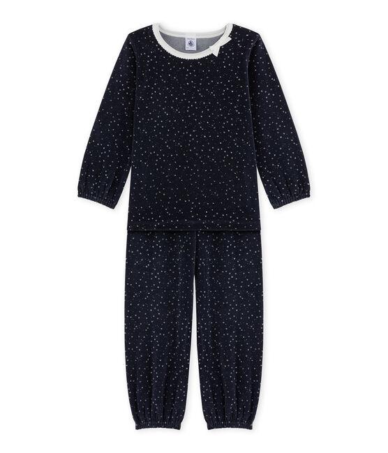 Pyjama fille en bouclette velours bleu Smoking / gris Argent