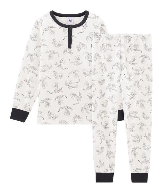 Fluwelen jongenspyjama wit Marshmallow / wit Multico