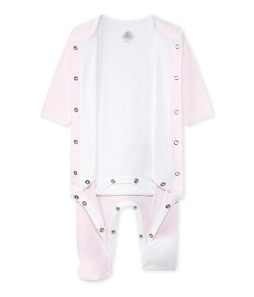 Bodyjama Bébé mixte rose Vienne / blanc Ecume
