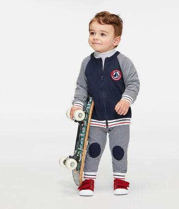 Cardigan van tubic met rits babyjongen blauw Smoking / wit Marshmallow