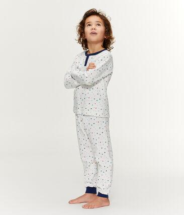 Pyjama petit garçon taille montante en molleton blanc Marshmallow / blanc Multico