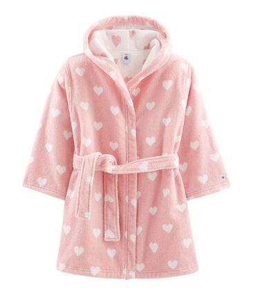 Badjas van badstof voor babymeisjes roze Charme / wit Marshmallow