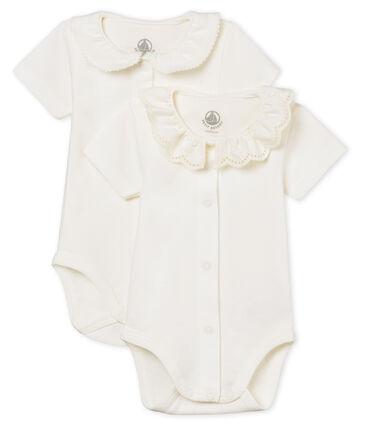 Set met 2 body's met korte mouwen met hals voor babymeisjes