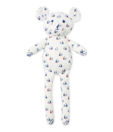 Knuffelbeer met dessin voor babyjongens wit Lait / wit Multico