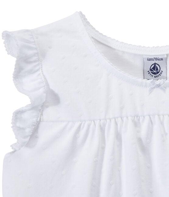Pyjacourt fille en coton fin blanc Ecume