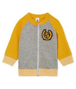Cardigan van tubic met rits babyjongen grijs Subway / geel Boudor
