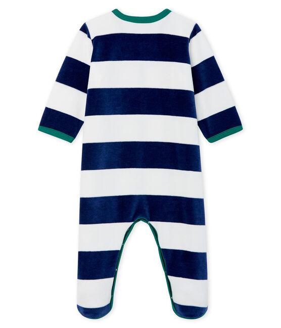 Dors bien bébé garçon en velours bleu Medieval / blanc Marshmallow