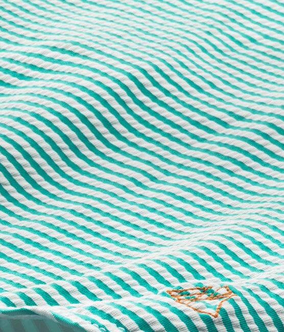 Maillot de bain fille 1 pièce vert Flag / blanc Lait