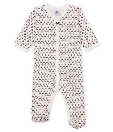 Omkeerbare pyjama met voetjes voor babymeisjes wit Marshmallow / wit Multico
