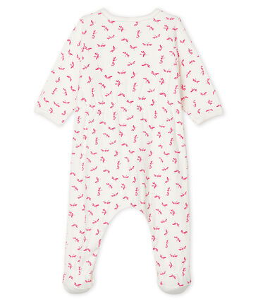 Bodyjama bébé fille en tubique blanc Marshmallow / rose Groseiller