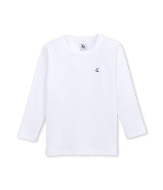 Jongens-T-shirt met lange mouwen in katoenflanel wit Ecume