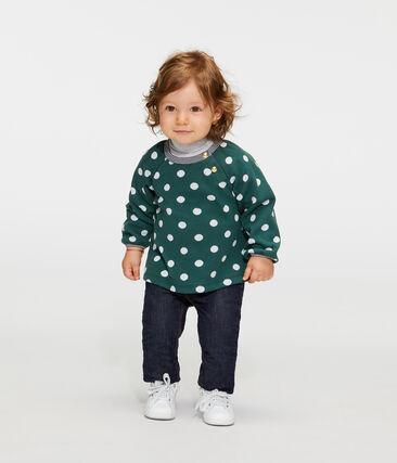 Blouse met lange mouwen met print babymeisje groen Sousbois / wit Marshmallow