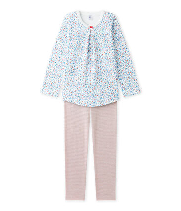 Meisjespyjama met bloemetjesdessin wit Lait / wit Multico