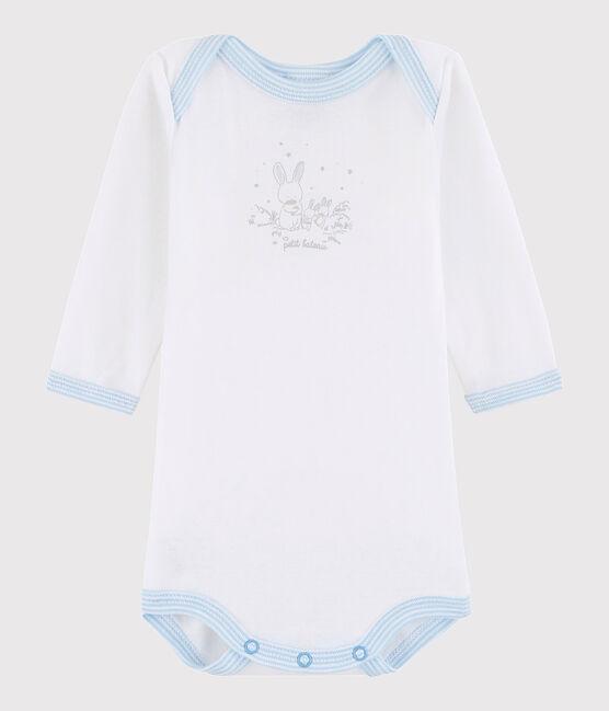 Rompertje lange mouwen babyjongen wit ECUME/ blauwJASMIN