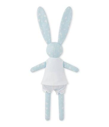 Bedrukte konijnenknuffel blauw Toudou / wit Ecume