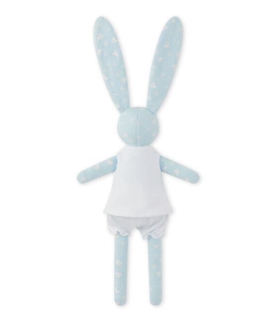 Doudou lapin imprimé bleu Toudou / blanc Ecume