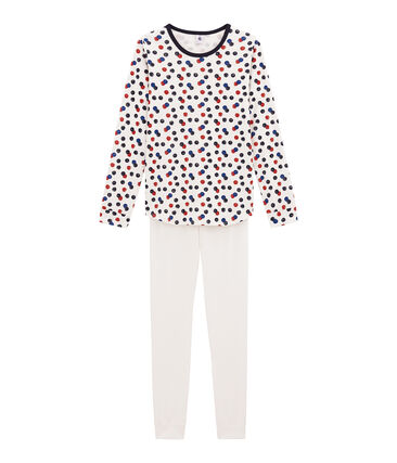 Korte meisjespyjama wit Marshmallow / wit Multico