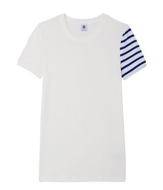 Fantasie-T-shirt voor dames in origineel geribd katoen wit Ecume