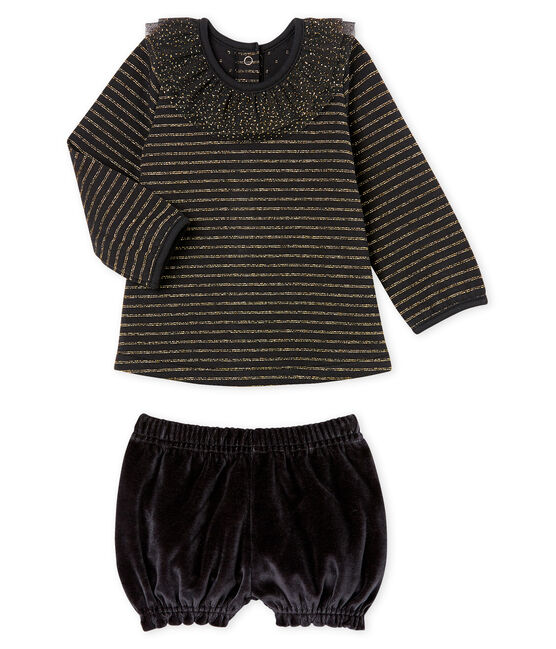 Set van 2 items babymeisje zwart Noir / wit Multico