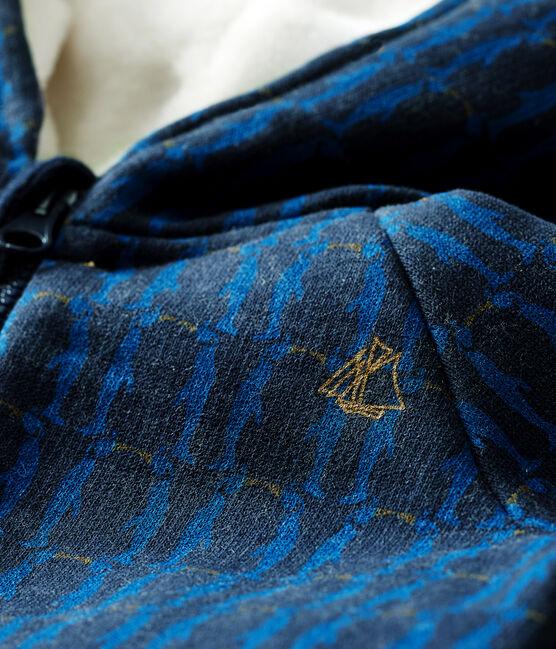 Sweatshirt à capuche bébé garçon en molleton imprimé et doublé de sherpa bleu Smoking / blanc Multico Cn