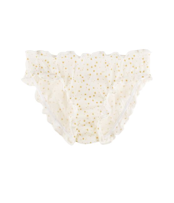 Culotte petite fille blanc Marshmallow / jaune Or