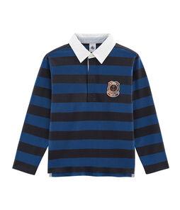 Rugbypolo met strepen jongens blauw Smoking / blauw Limoges
