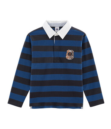 Polo rugby rayé enfant garçon bleu Smoking / bleu Limoges