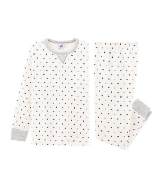 Jongenspyjama van tubic wit Marshmallow / wit Multico