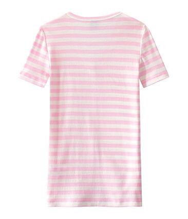 Gestreept dames-T-shirt met V-hals in origineel geribd katoen