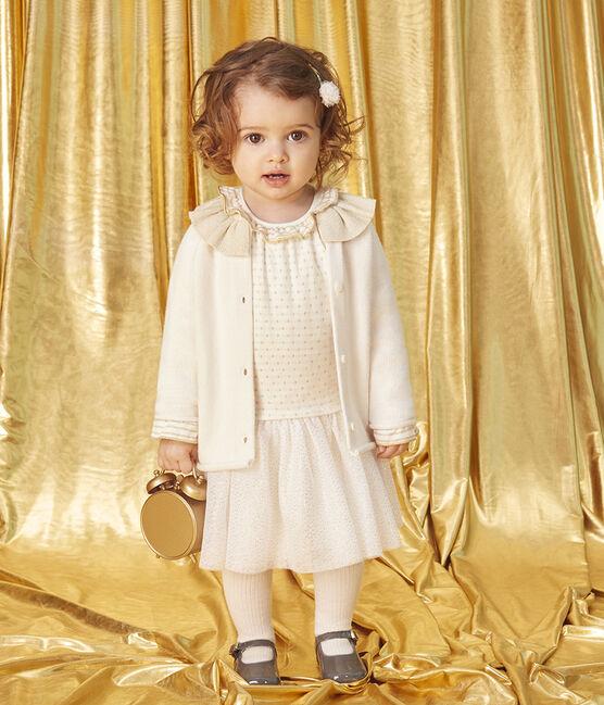 Jurk met lange mouwen twee soorten materiaal babymeisje wit Marshmallow / geel Or