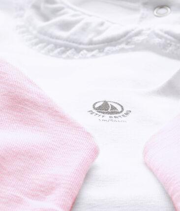 Ensemble bébé fille 3 pièces blanc Ecume / rose Vienne