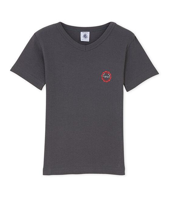 T-shirt garçon col V à motif gris Maki