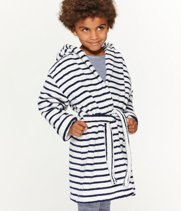 Kinderbadjas van badstof wit Lait / blauw Medieval