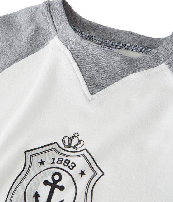 Jongens tee-shirtmet lange mouwen en opdruk wit Marshmallow / grijs Subway